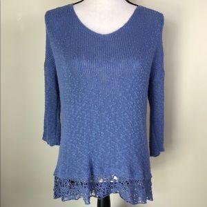⭐️ Ann Taylor Loft Crochet Trim High Low Sweater